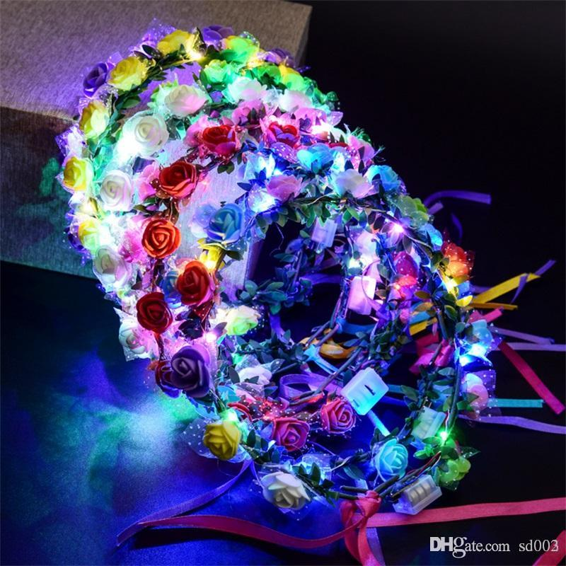 LED Flower Wreath For Wedding Dress Hair Garland Bridal Romantic Bridesmaid Floral Crown Hawaii Seaside Party Decor Headdress 3jt ZZ