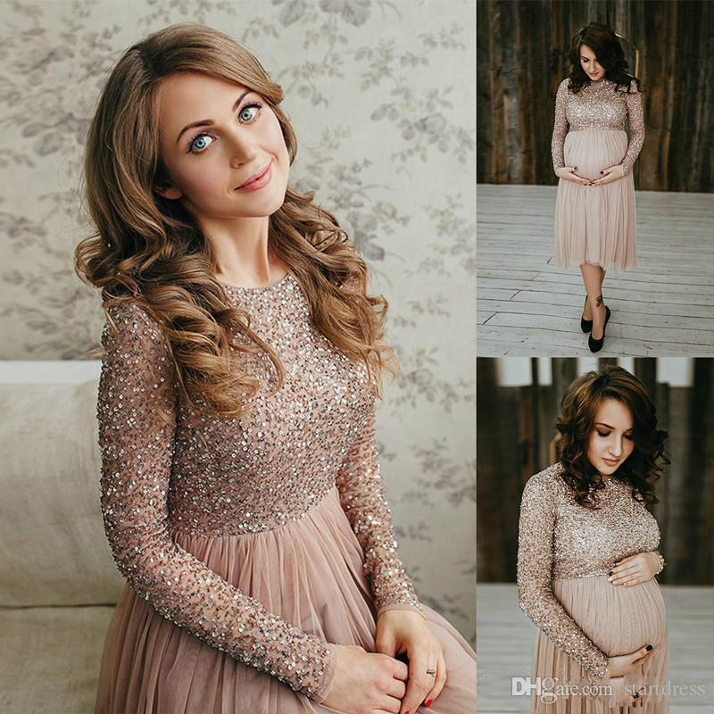 Elegant Top Beaded Long Sleeve Maternity Evening Dresses Tea Length Chiffon Empire Short Prom Gowns Plus Size Cloth For Women Cheap Formal
