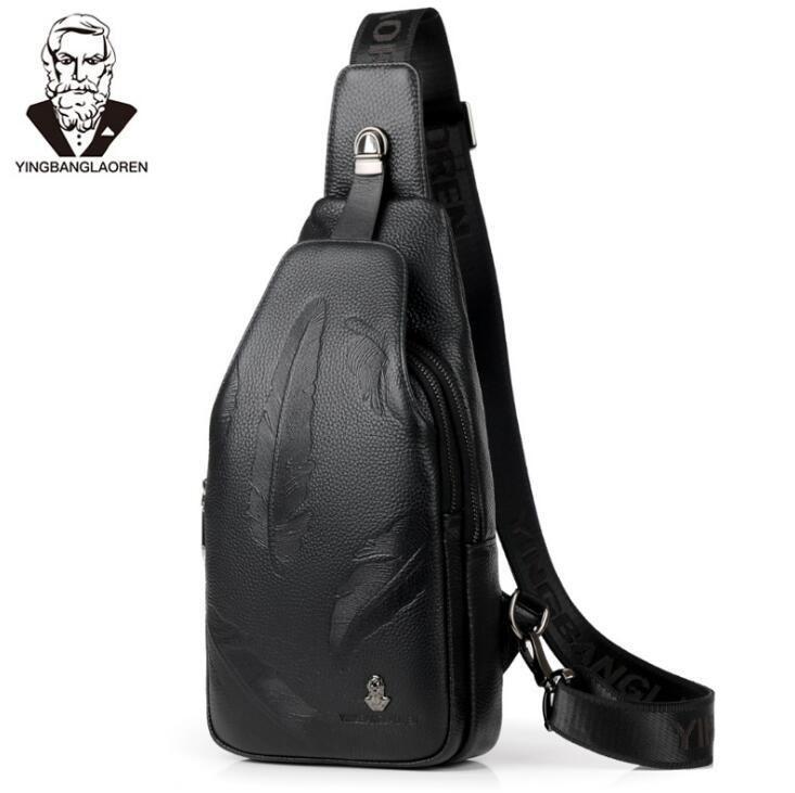 Factory wholesale brand men bags high quality embossed leather men bra fashion top-level cowhide shoulder bag leisure Leather Travel Shoulde