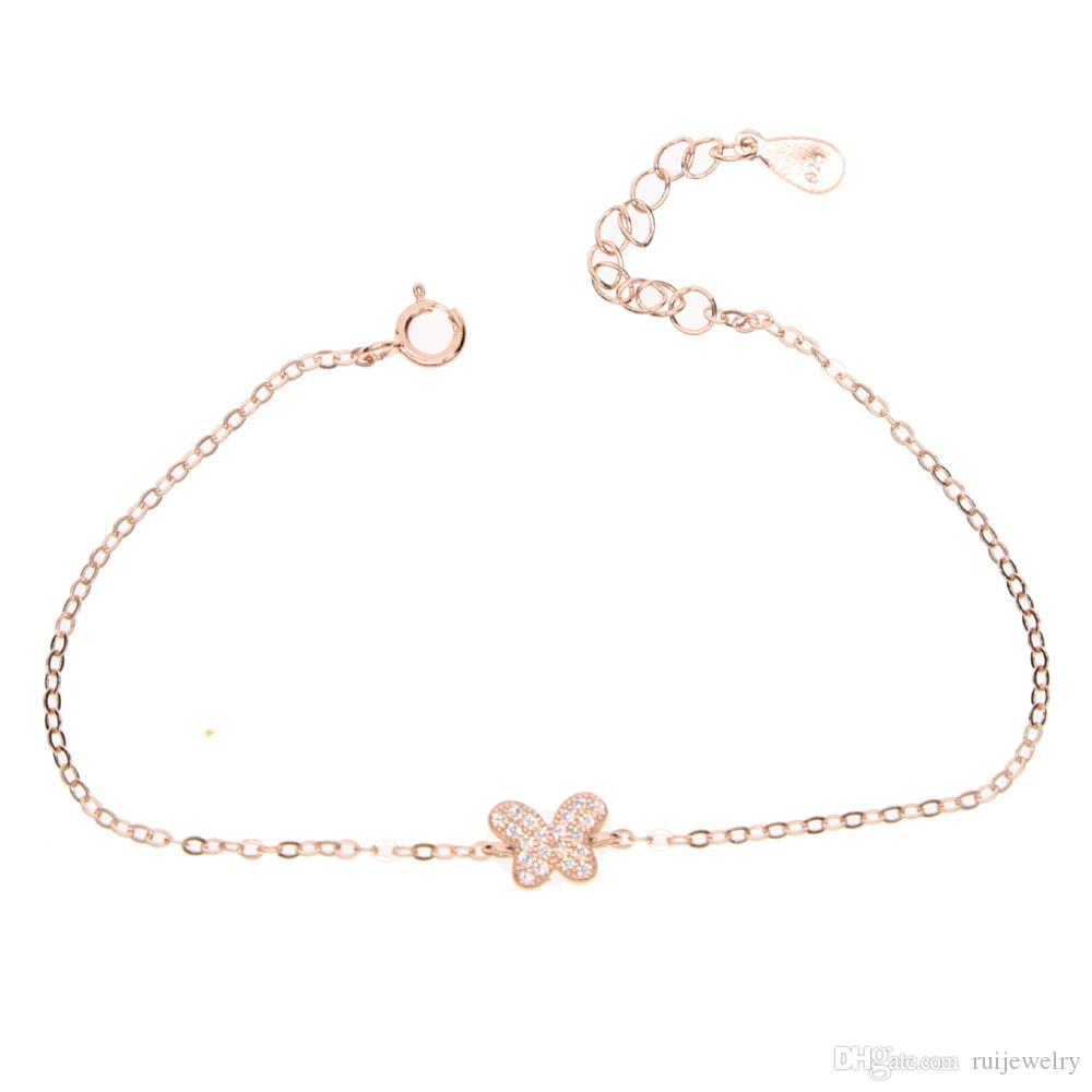 Pulsera del encanto de los animales de la mariposa de la plata esterlina 925 con cz pavimentada para el regalo de la manera de la chica joven