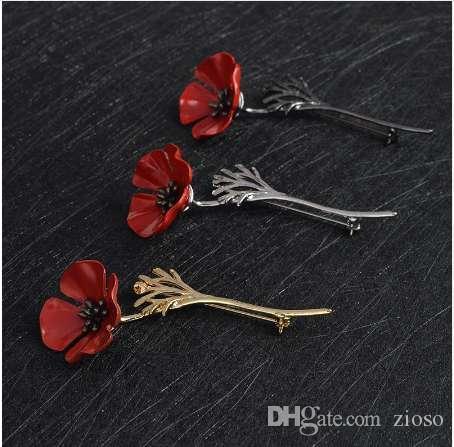 3D старинные Красный Мак цветок кальмары брошь контактный воротник корсаж золото серебро черный булавки рубашка знак старинные ювелирные изделия подарок для женщин