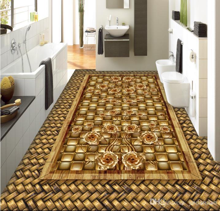 настил настроить самоклеющиеся обои 3D полы обои Сторновка PVC деревянного зерна золото Роза 3D комната обои