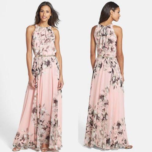Women Summer Sleeveless Long Maxi Floral Dress Evening Party Beach Dresses Sundress