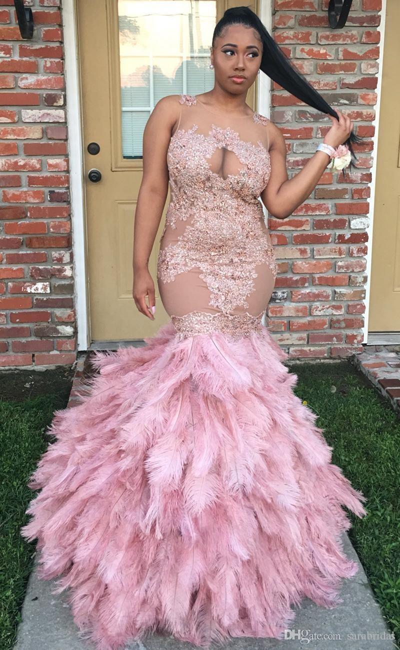 Großhandel Blush Pink Trompete Prom Kleider Juwel Spitze Applique ...