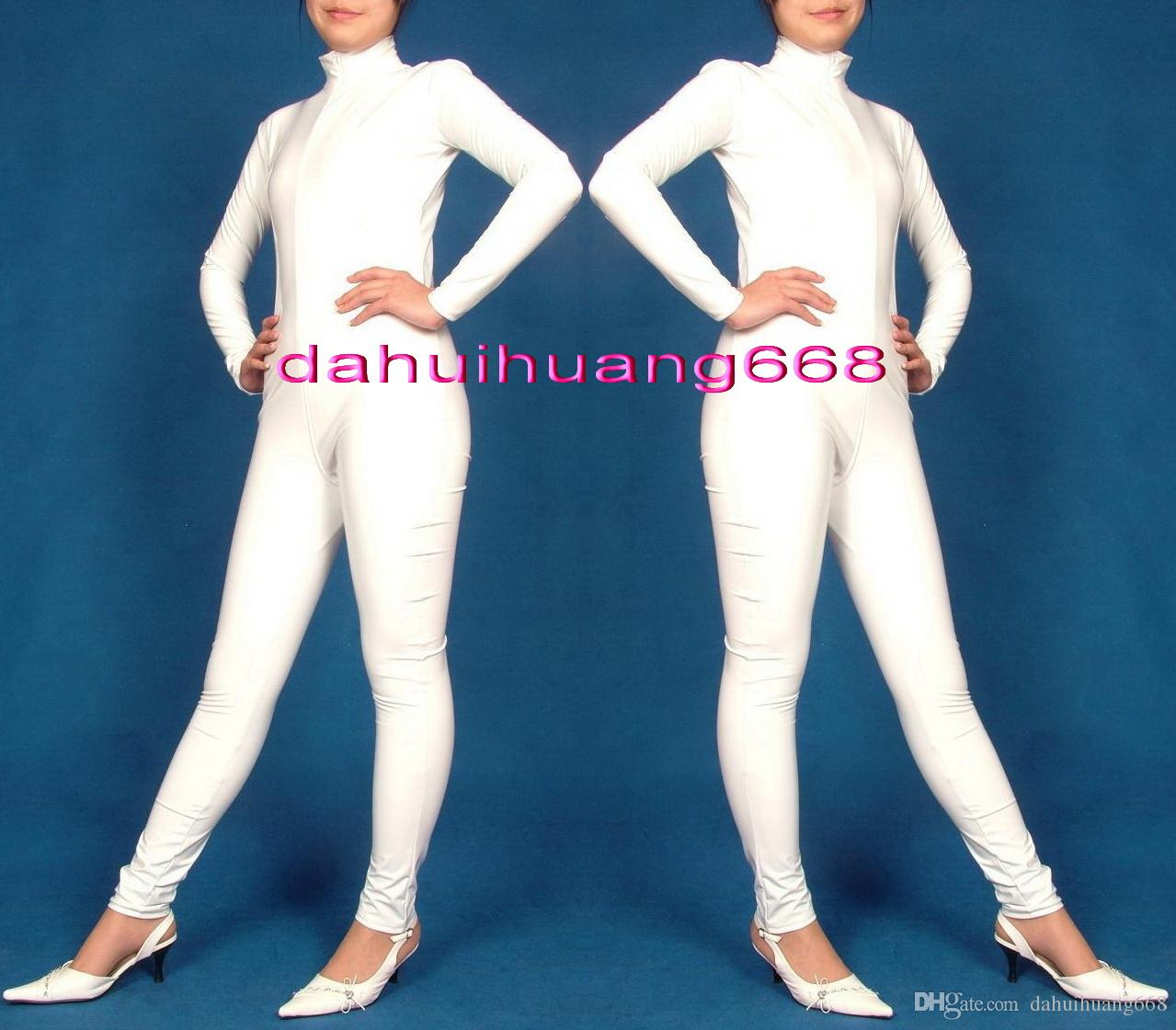 Sexy White Shiny PVC Suit Catsuit Costumes Unisex Shiny White PVC Body Suit Unisex Sexy PVC Bodysuit leotard Costumes With Long Zipper DH181
