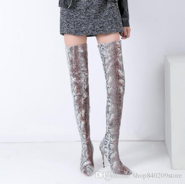 Primavera outono moda saltos altos 12 cm sobre o joelho botas sapatos Tthigh botas altas mulher apontou toe stilettos sexy serpentina botas