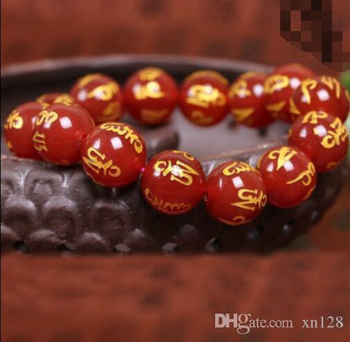 Reine natürliche Armband weibliche böse Geister Männer Transfer Perlen rot Achat sechs Worte Armband Schmuck 10MM