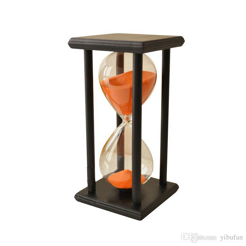 60min Drewniany Piasek Klepsydra Klepsydra Timer Wystrój Zegarowy Unikalny Typ prezentu: 60min Black Ramska Pomarańczowy Piasek