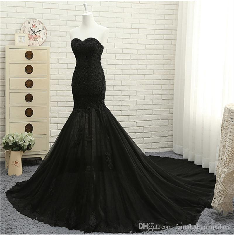2018 Elegant Black Lace Mermaid Wedding Dresses Custom Made Sequins Sweetheart Bridal Gowns 1m Train Bridal Dresses Canada 2019 From