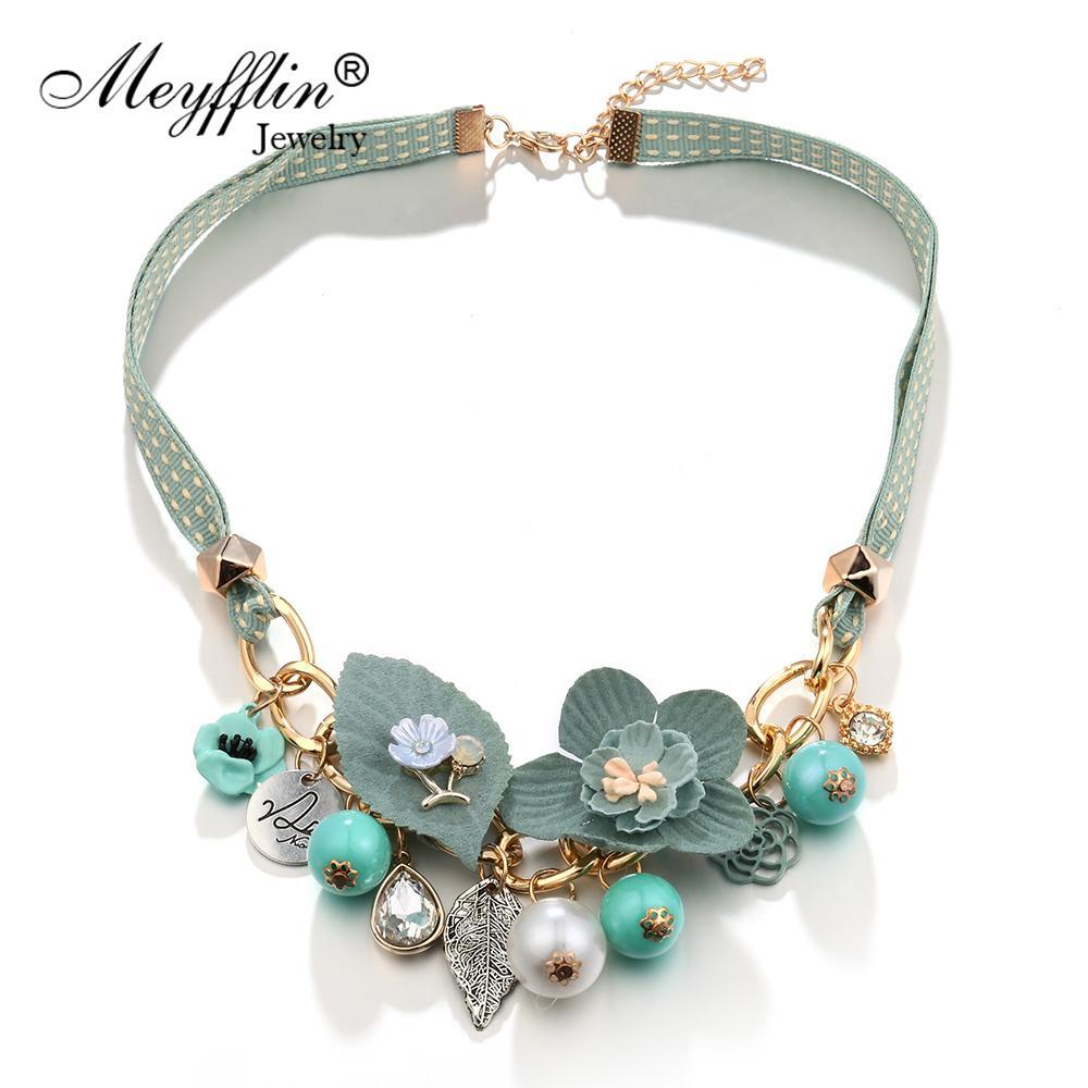 Meyfflin Fashion Statement Collane Pendenti per donne Choker Gioielli Simulati Perla Fiore Maxi Colar Collier Femme Collar
