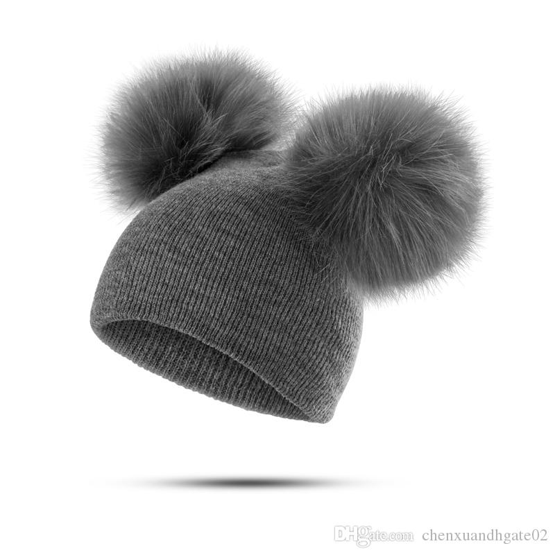 INS Fashion Children Hat Toddler Kids Baby Knitted Warm Winter Wool Hat Knit Beanie Fur Pom Pom Hat Baby Boys Girls Caps