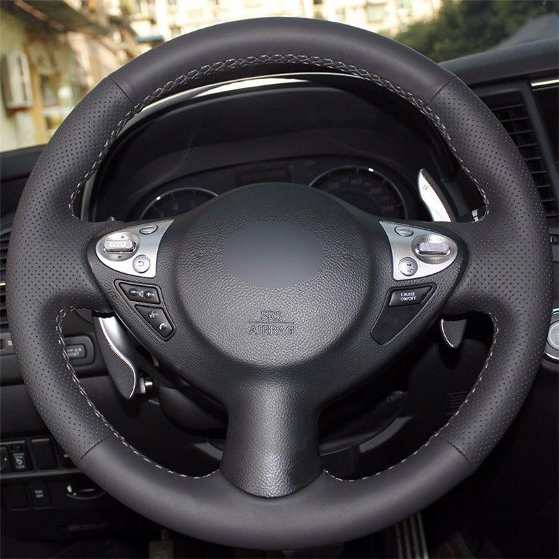 Top Leather Steering Wheel Hand-stitch on Wrap Cover For Nissan Juke Maxima