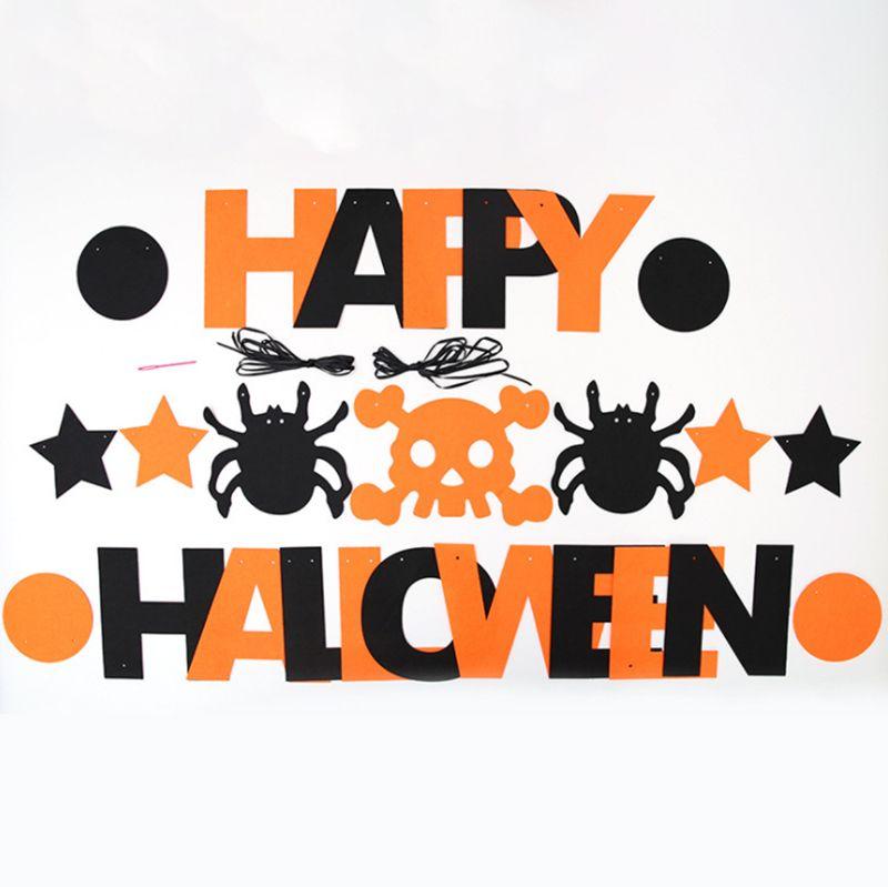 Diy colgando banderas decoración de Halloween laca no tejida letra de Halloween tirón bandera KTV decoración de la barra