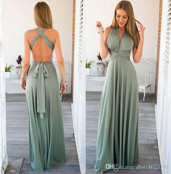 New Sexy V colletto Charming Backless Chiffon Donne Occasioni speciali Prom Dress Abiti da sera Party Dres