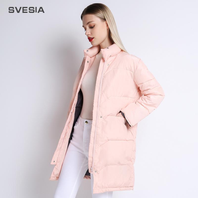 SVESIA Winter Jacket Women 2018 Knee Length Pink Coat Camperas Mujer Abrigo Invierno 2018 Female Overcoat Parkas For Women S18101203