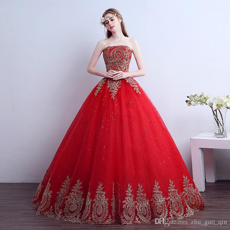 Fansmile 2017 Free Shipping Vintage Lace Red Wedding Dresses Long Train Plus Size Ball Gown Robe de Mariee Cheap