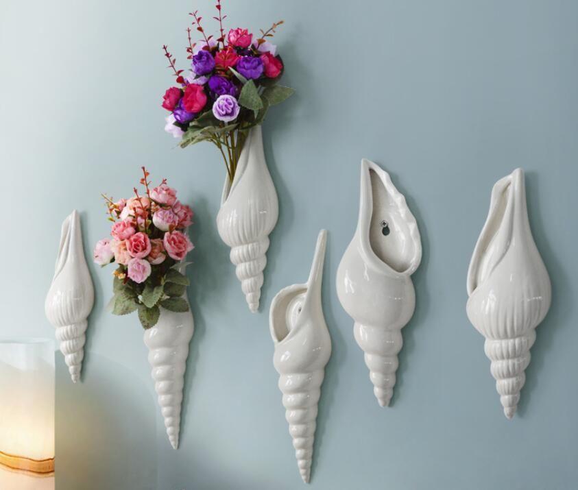 ceramica creativa conchiglia fiori vaso pentola home decor artigianato parete della stanza decorazioni oggetti porcellana vintage figurine parete vaso