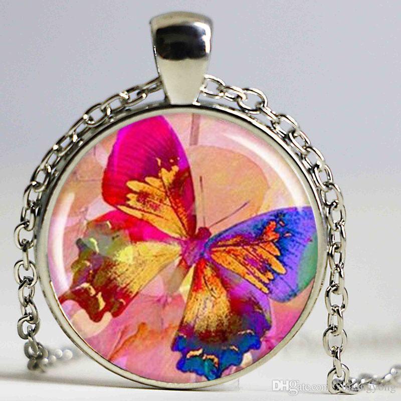 Collana a forma di farfalla arcobaleno, charm in resina, pendente con farfalla multicolore, gioielli a farfalla, argento tondo