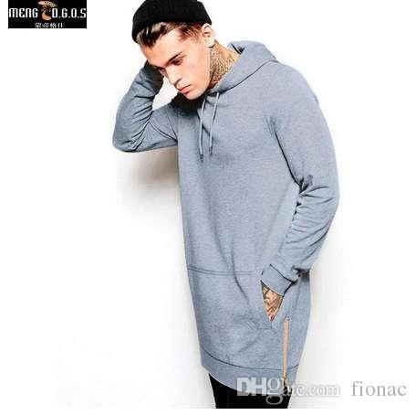 New Arrival Black Solid Fleece Hip Hop Oversize Men Bluzy Longline Moda Bluzy Bluzy Mężczyźni Darmowa Wysyłka