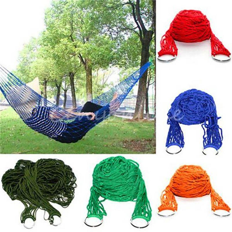 Sleeping Mesh Hammock Swing Sleeping Bed Hammock Hamaca Hamac Portable Garden Outdoor Camping Travel Furniture Nylon Bed Hangnet