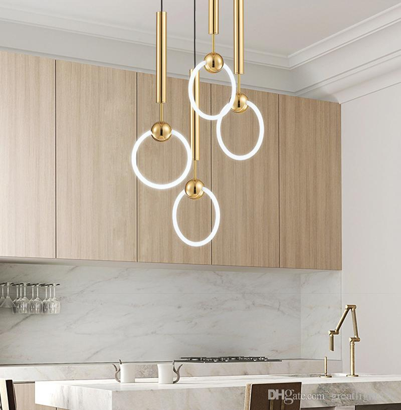 Gold T8 LED Ring Chandelier Circle Ring Light Single-head Circline Pendant Lamps