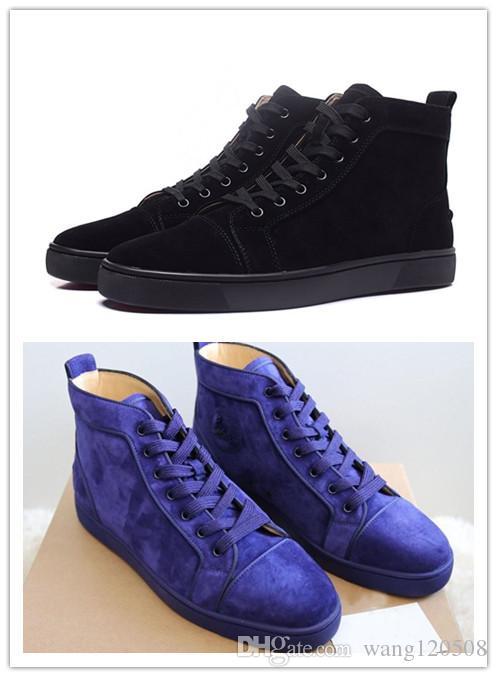 Nouvelle arrivée pas cher mens femmes haut noir daim bas rouge chaussures de sport mode gentleman designer baskets à lacets taille 35-46