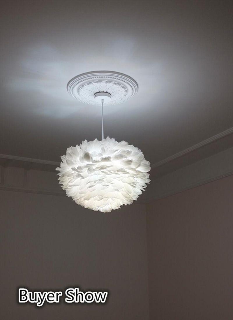 Leuchten Pendelleuchte Hängelampe In Feder mit Kabel Weiß