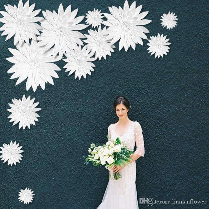 لينمان 50 سنتيمتر diy مجسمة ورقة الزهور خلفية الديكور الاصطناعي زهور الزفاف تفضل حفلة عيد تزيين المنزل