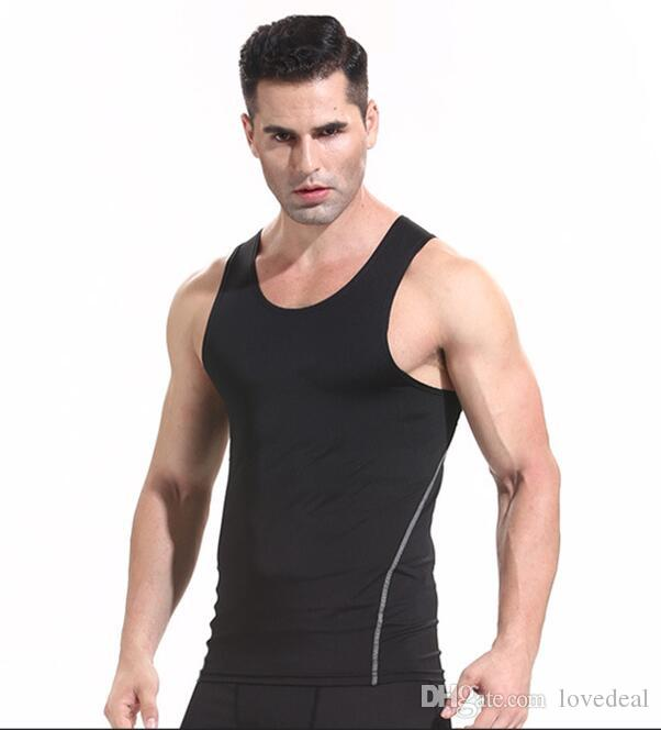 Wholesale-2018 New pro speed training sports tights vest men running elastic fitness clothing short sleeve T-shirt Tee