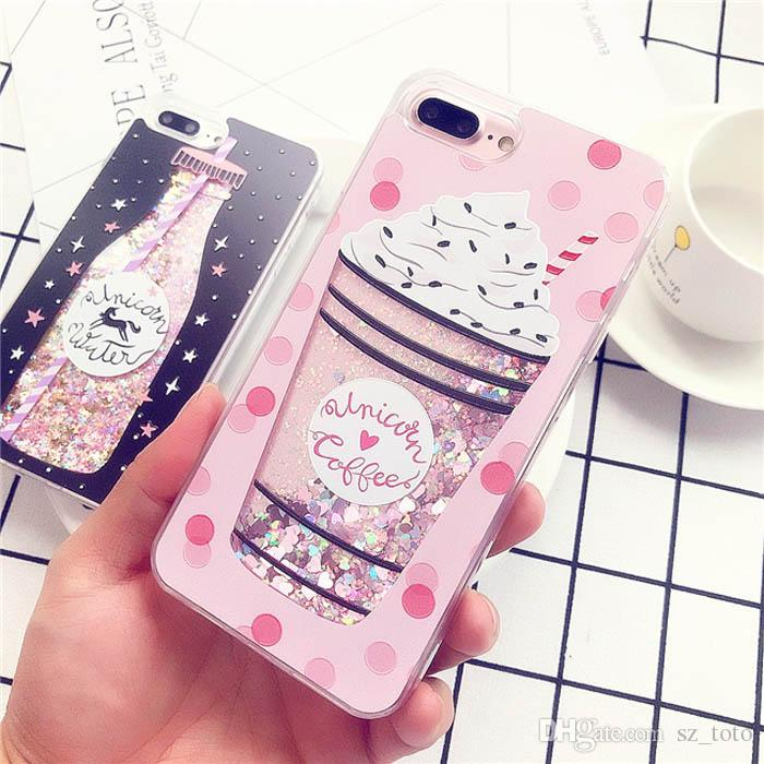 YunRT Glitter Bottle Quicksand Dynamic Phone Case For iPhone X Bling Flowing Love Heart Sequins Cases For iPhone 8 7 6 6s Plus