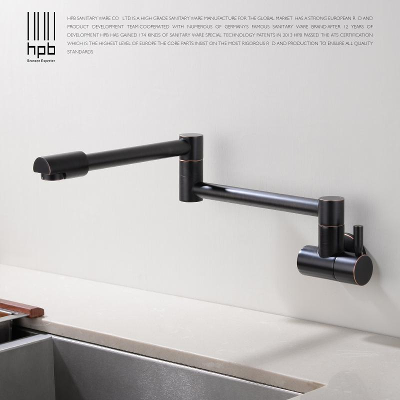2019 Hpb Kitchen Faucet Wall Mounted Single Cold Only Brass Oil Rubber Bronze Sink Tap Single Handle 720 Degree Rotation Hp9105 From Lienal 86 46
