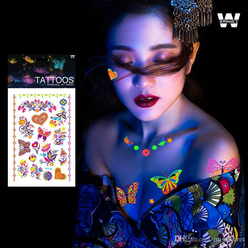 빛나는 임시 문신 스티커는 형광 바디 아트를위한 어둠 형광 형광 방수 나비 문신에 빛납니다.