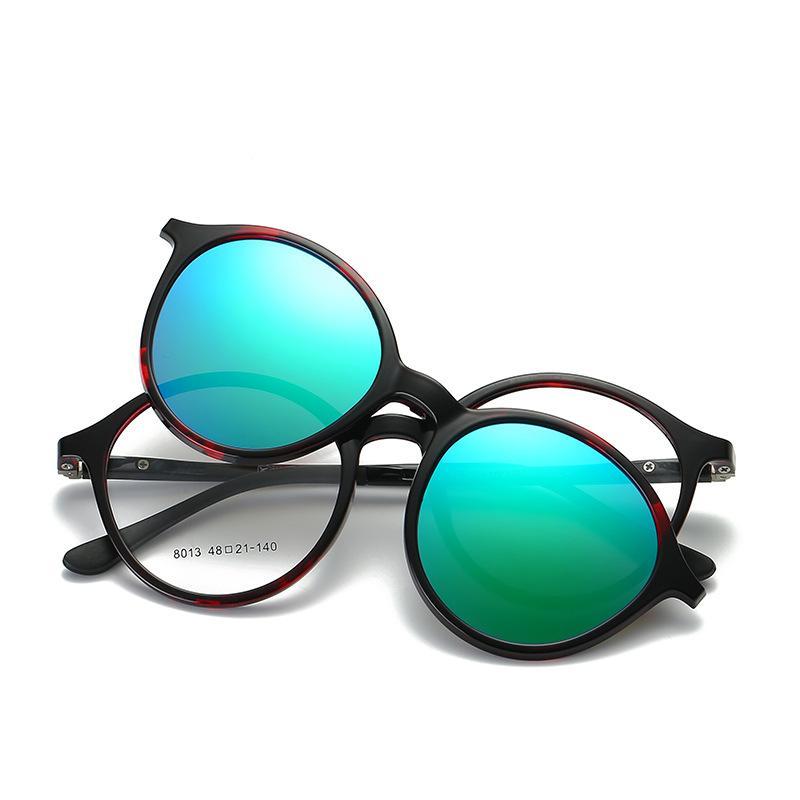 Cubojue gafas de sol magnéticas Polarized Women Men Clip redondo en el marco de los vidrios apto para Myopia dioptrías gafas espejo femenino