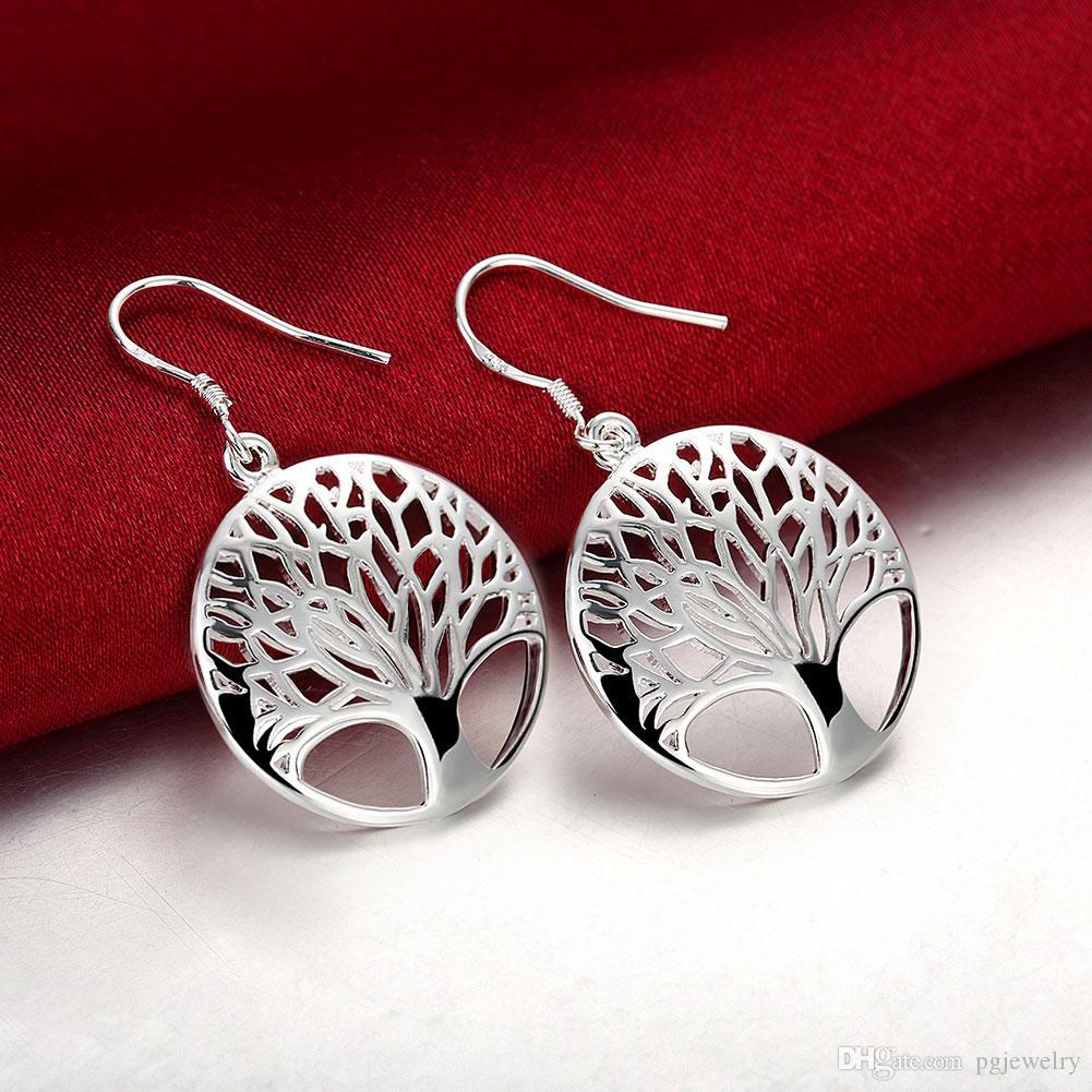 2018 New Arrival Clássico Árvore da Vida Brincos 925 Sterling Silver Charme Brincos moda jóias fazendo para mulheres presentes frete grátis