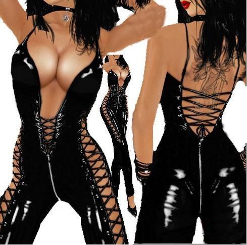 gut aus x billig für Rabatt bester Wert Großhandel Sexy Frauen Dessous Lackleder Lace Up Tiefem V Ausschnitt Wet  Look Catsuit Geöffneter Schrittgurt Bodysuit Overall Clubwear Von Plocccc,  ...