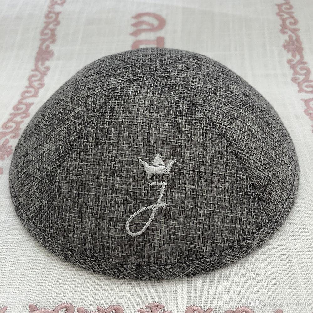 Personalizza kippah kippot yarmulke, colore grigio scuro kipa,, kippa, zucchetto, cupola per matrimonio bar- mitzvah Tessuto di lino con embriodery berr