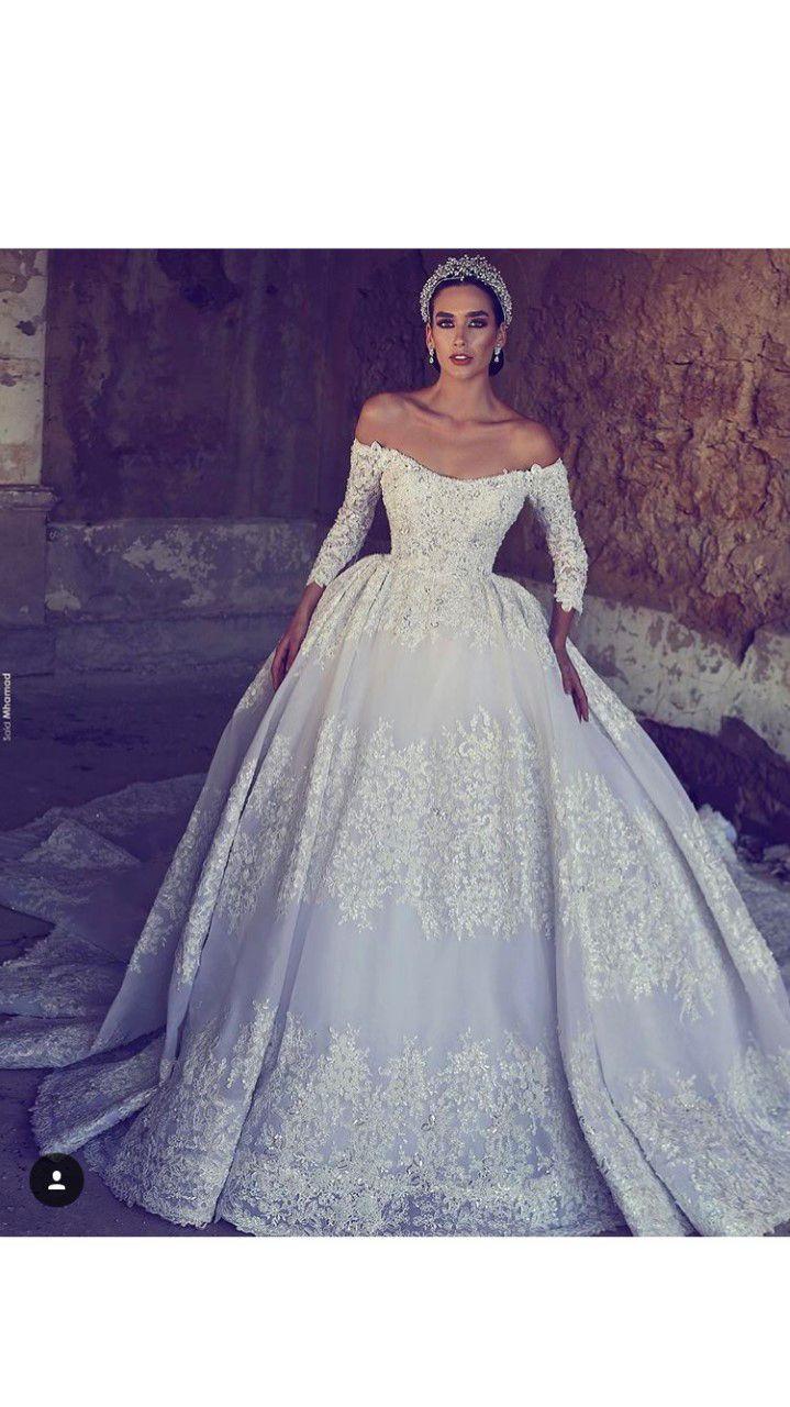 luxury african wedding dresses 3/4 sleeves crystal beads lace 2018 mermaid  off shoulder wedding bridal gowns ball gown wedding gowns ball gowns