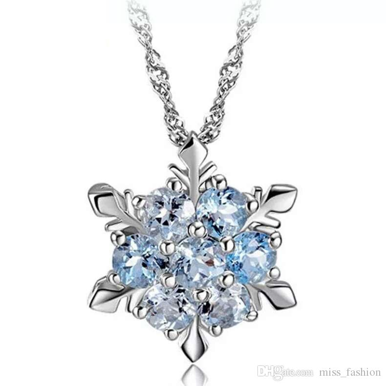 Woman silver necklaces crystal jewelry snowflake pendant necklaces wedding vintage fashion top colorful quality necklaces charms
