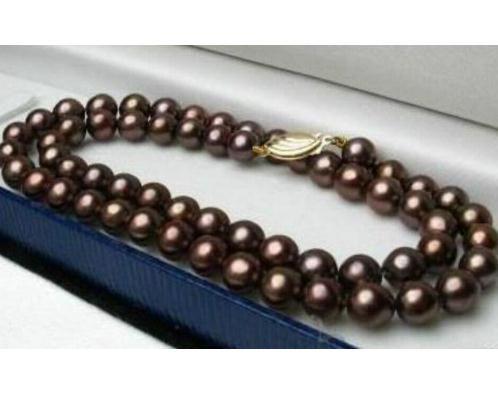 Incantevole collana di perle di cioccolato del Mare del Sud 10-11mm con chiusura in oro 14K a 18 pollici