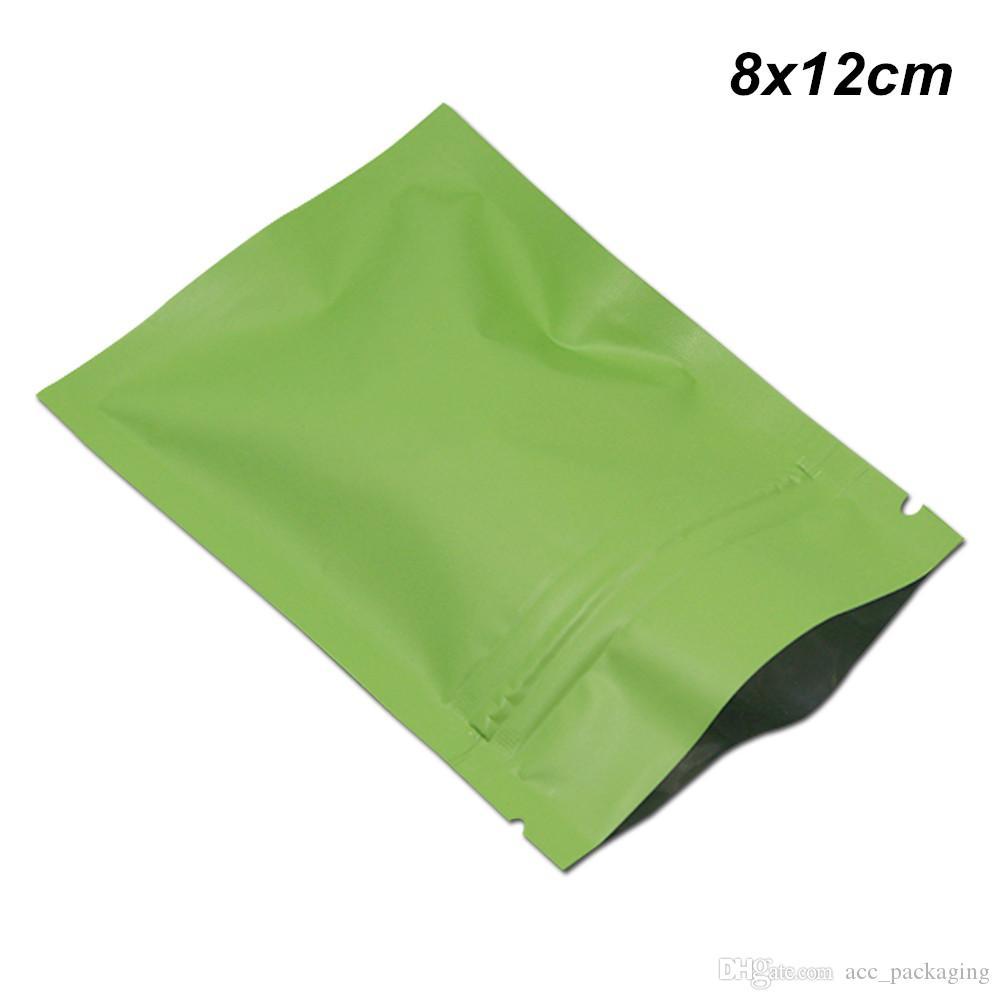 Matte Green 8x12 cm 200pcs/Lot Aluminum Foil Zipper Lock Storage Bags Foil Mylar Packing Material Reusable Grocery Bags Foil Pouch for Snack