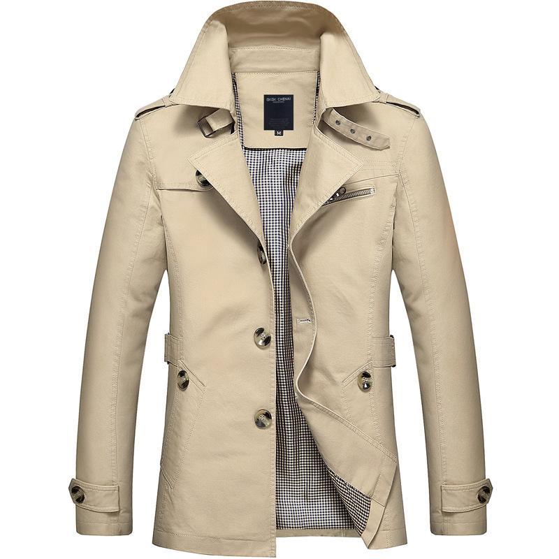 패션 남성 고급 프리미엄 브랜드 단일 플러스 크기 트렌치 코트 / 남자 컬러 매칭 옷깃 긴 레저 트렌치 자 켓