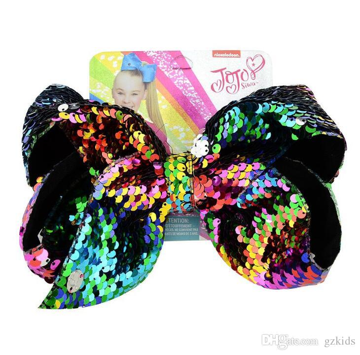8 Inch Jojo Siwa Hair Bow With Clips Papercard Metal Girls Giant Sequins Hair Accessories 20 Styles