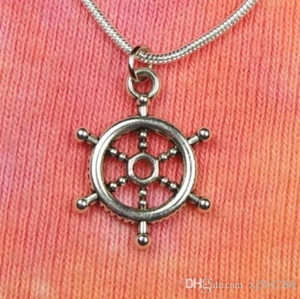 Vintage Silvers Ships Wheel Necklace Charms Choker Clavicle Snake Chain Statement Necklace Pendants For Woman Fashion Jewelry Accessories