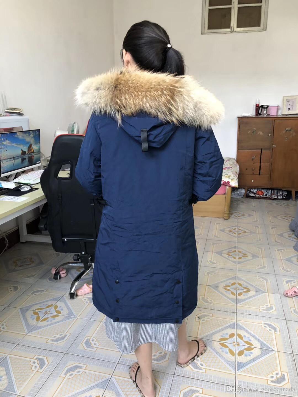 Canadá Abajo chaqueta de la capa Hiver Doudoune Marca Canadá la piel del lobo para hombre de la Mujer Hombre Invierno Jassen capucha Fourrure Manteau