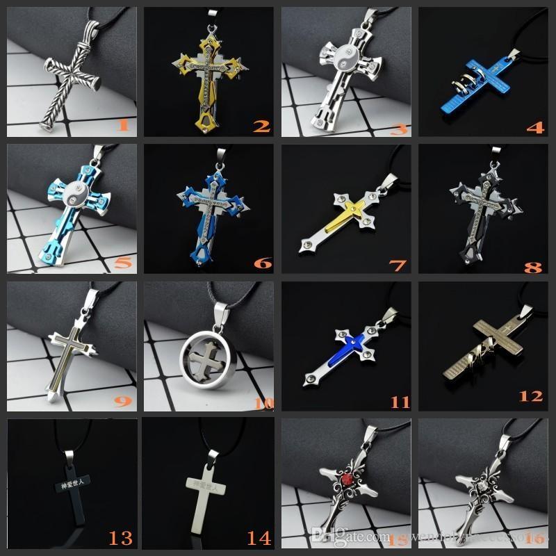 Вся продажа крест кулон ожерелье 45 см цепи Титана модные аксессуары заявление ювелирные изделия 10 шт. / лот Бесплатная доставка лучший подарок для мальчика