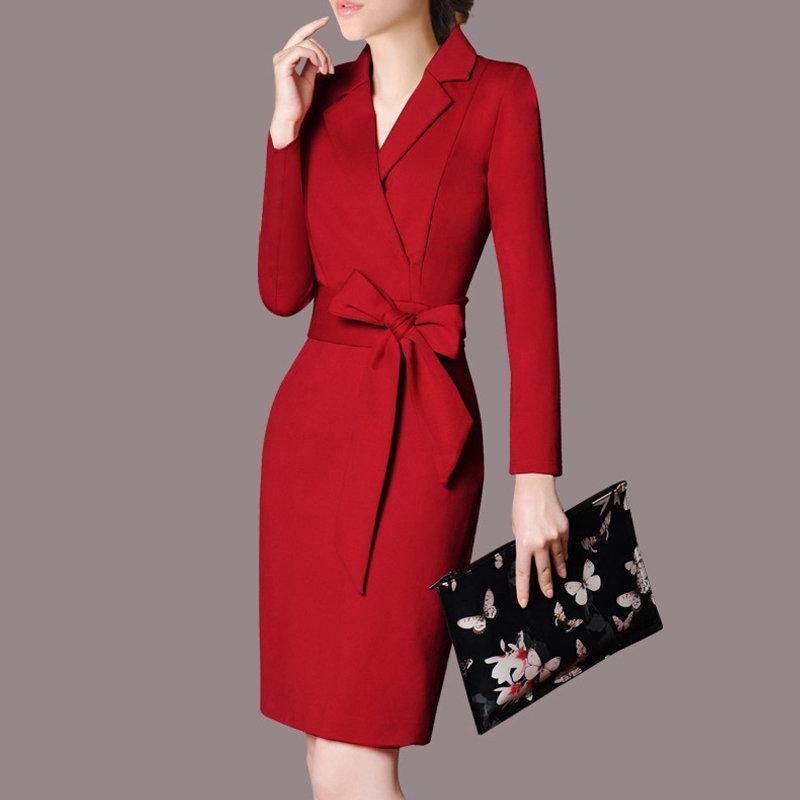 2019 Fall Women Dress V-neck OL Office Dresses Ladies Elegant Bodycon Vestidos Mujer Moda Long Sleeve Plus Size Dress Female