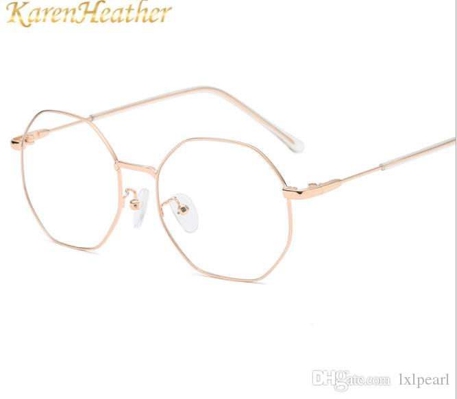 Specchio piatto, quadrante piccolo, cornice rotonda, cornice retro miopia, occhiali da vista da uomo con montatura chiara blu.