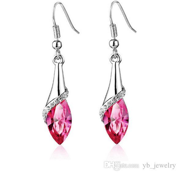 Cristal Natural Forma de Caballo Pendientes de diamantes de imitación Swarovski Elements 11 colores opcionales de moda clase mujeres niñas regalo de la joyería
