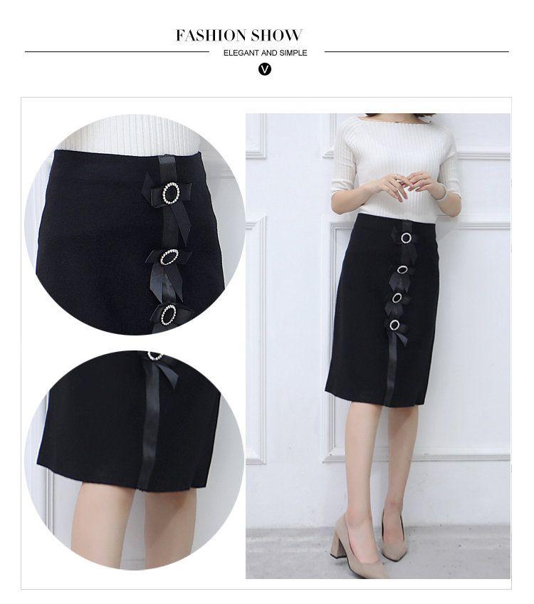 New 2019 Skirt Autumn Elegant Office Skirts Women High Waist Faldas Mujer Casual Black Skirt Chic Bow Saia Femme Invierno (2)
