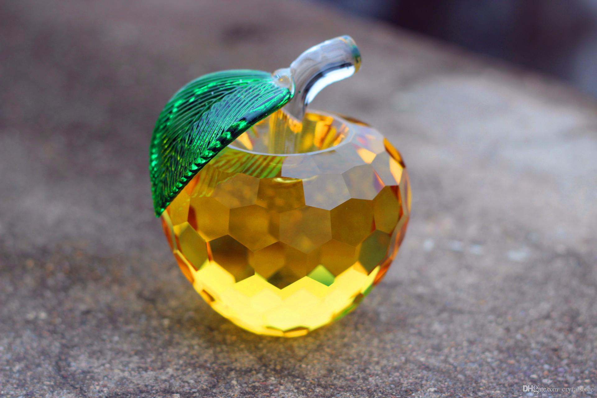 Yellow Handcrafted Crystal Apples Paperweight Valentine/'s Day Gift